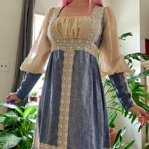 Vintage 70s Gunne Sax black label medieval dress